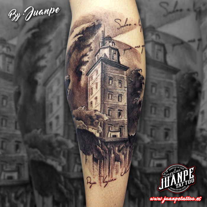 tatuaje faro torre de hercules